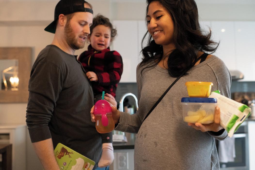 embarazada y su familia