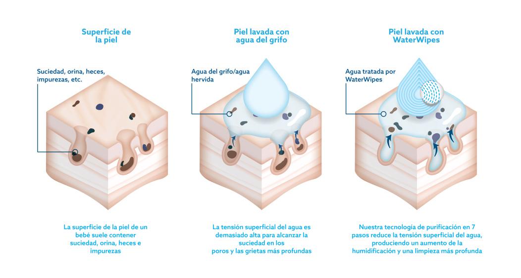 infografía sobre las diferencias del uso de WaterWipes en la piel